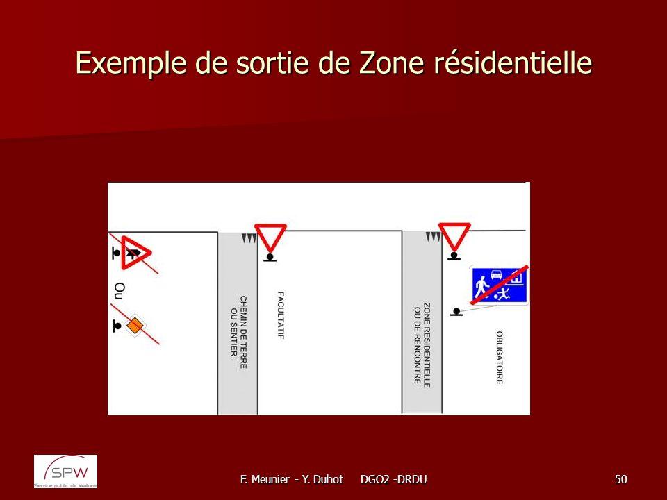 F. Meunier - Y. Duhot DGO2 -DRDU50 Exemple de sortie de Zone résidentielle