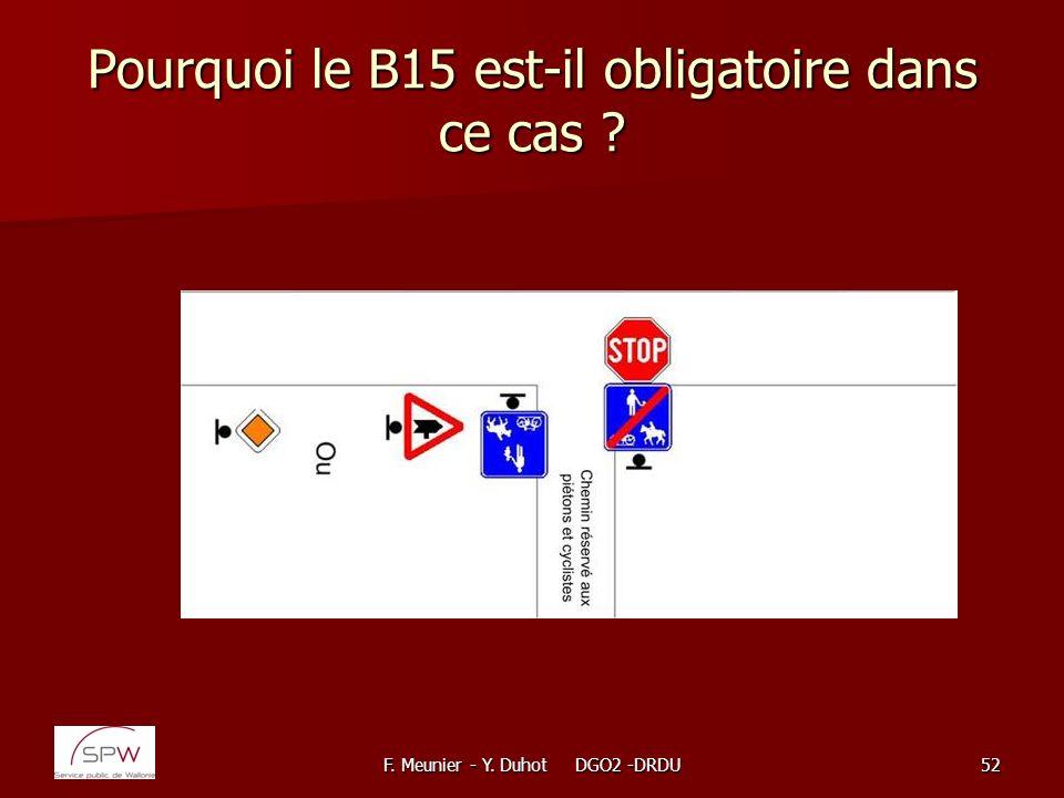 F. Meunier - Y. Duhot DGO2 -DRDU52 Pourquoi le B15 est-il obligatoire dans ce cas ?