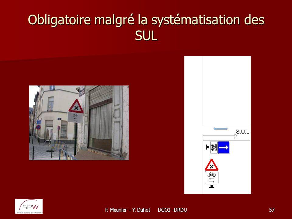 F. Meunier - Y. Duhot DGO2 -DRDU57 Obligatoire malgré la systématisation des SUL