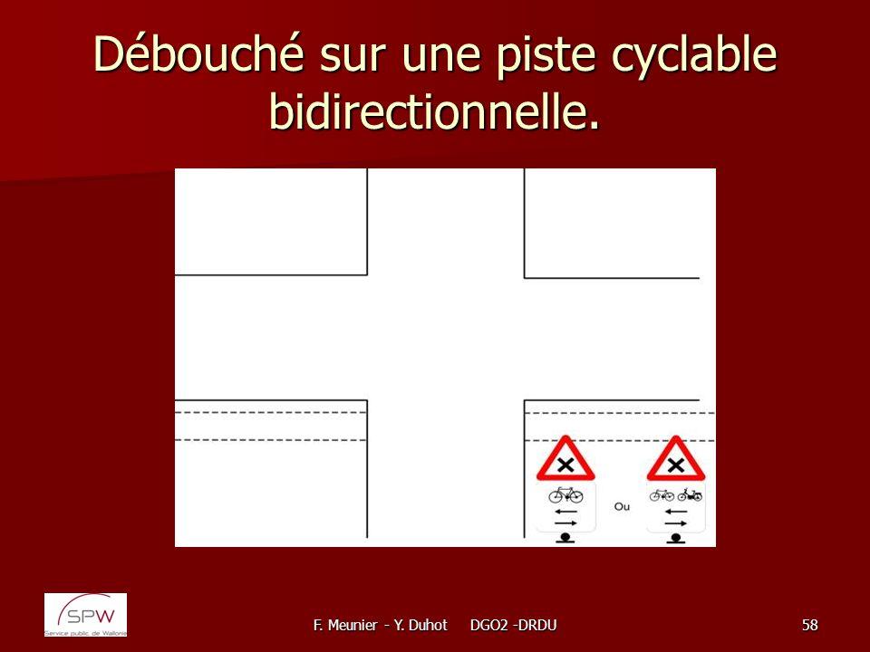 F. Meunier - Y. Duhot DGO2 -DRDU58 Débouché sur une piste cyclable bidirectionnelle.