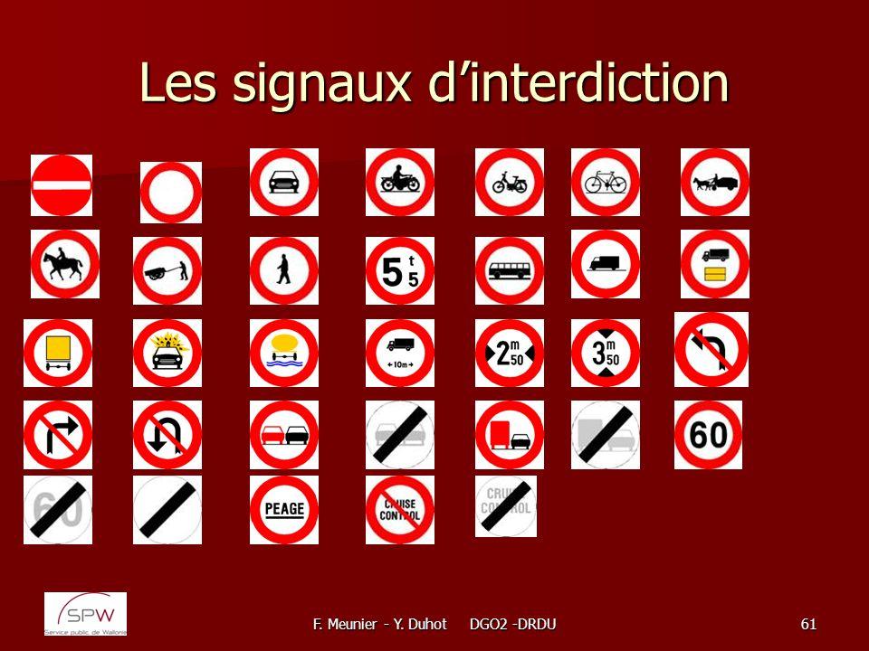 F. Meunier - Y. Duhot DGO2 -DRDU61 Les signaux dinterdiction