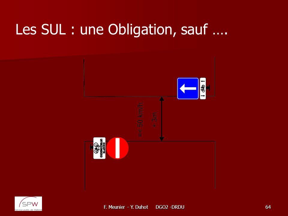 F. Meunier - Y. Duhot DGO2 -DRDU64 Les SUL : une Obligation, sauf ….