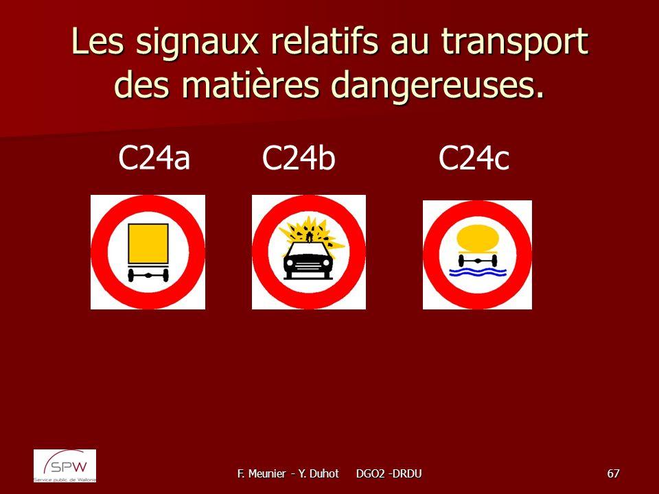 F. Meunier - Y. Duhot DGO2 -DRDU67 Les signaux relatifs au transport des matières dangereuses. C24a C24bC24c