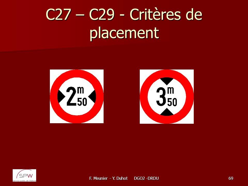 F. Meunier - Y. Duhot DGO2 -DRDU69 C27 – C29 - Critères de placement