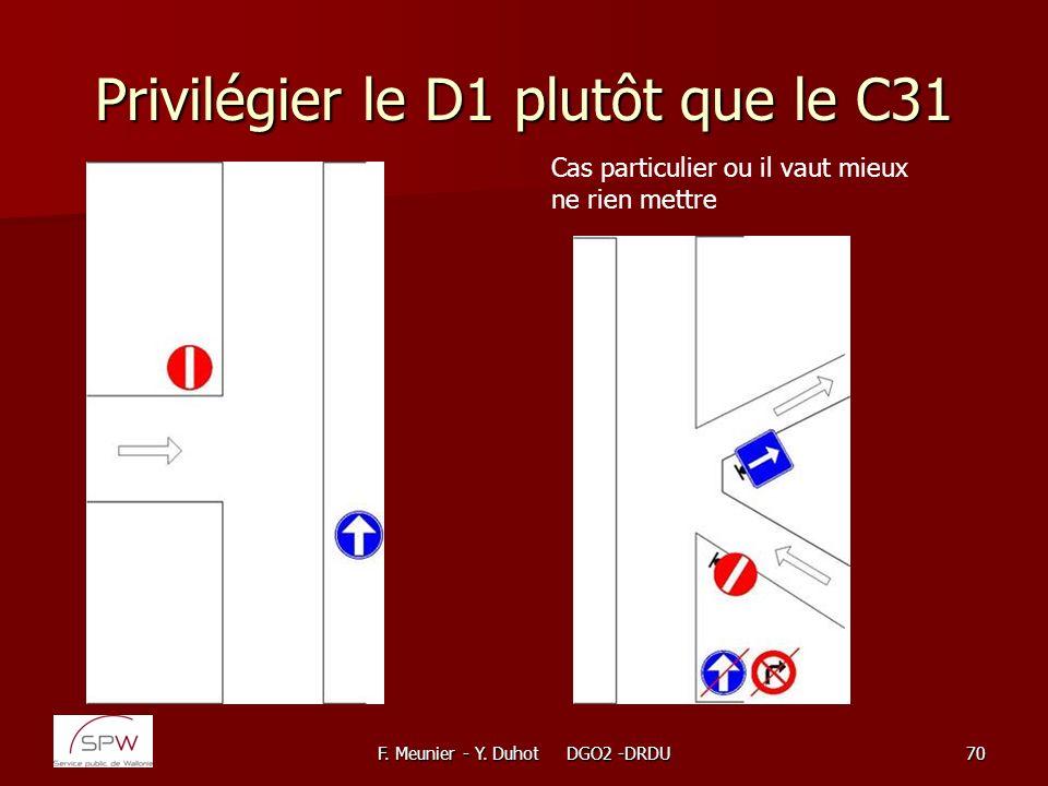 F. Meunier - Y. Duhot DGO2 -DRDU70 Privilégier le D1 plutôt que le C31 Cas particulier ou il vaut mieux ne rien mettre