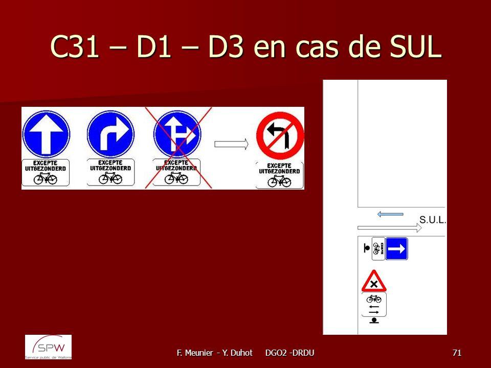 F. Meunier - Y. Duhot DGO2 -DRDU71 C31 – D1 – D3 en cas de SUL