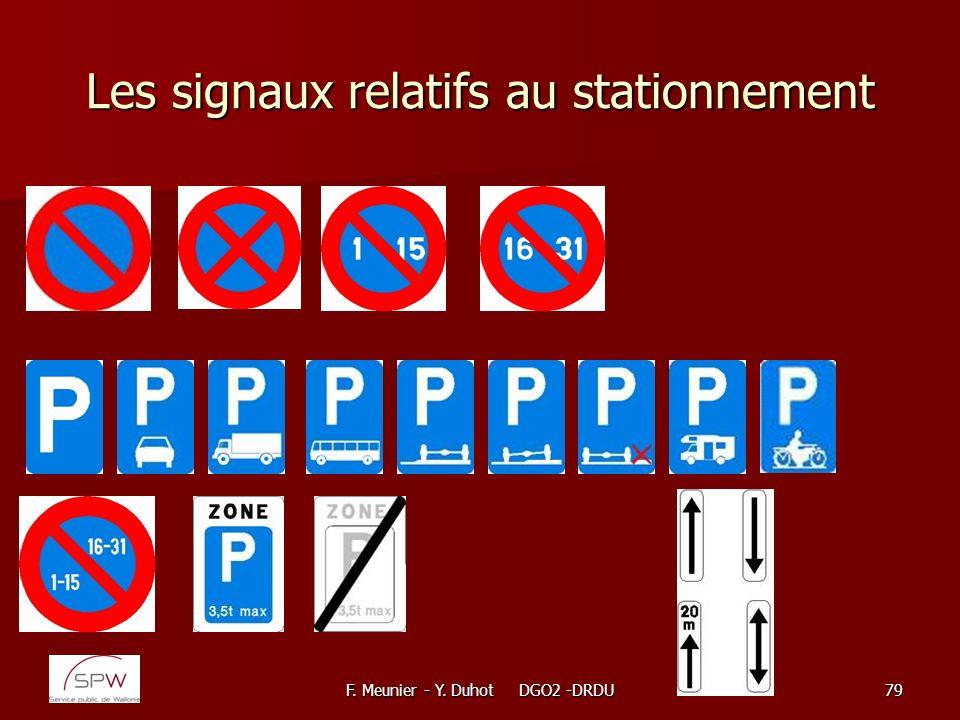 F. Meunier - Y. Duhot DGO2 -DRDU79 Les signaux relatifs au stationnement
