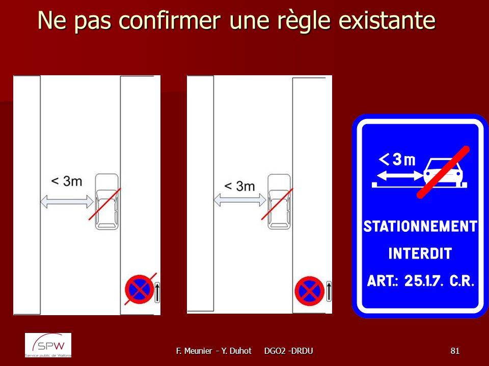 F. Meunier - Y. Duhot DGO2 -DRDU81 Ne pas confirmer une règle existante