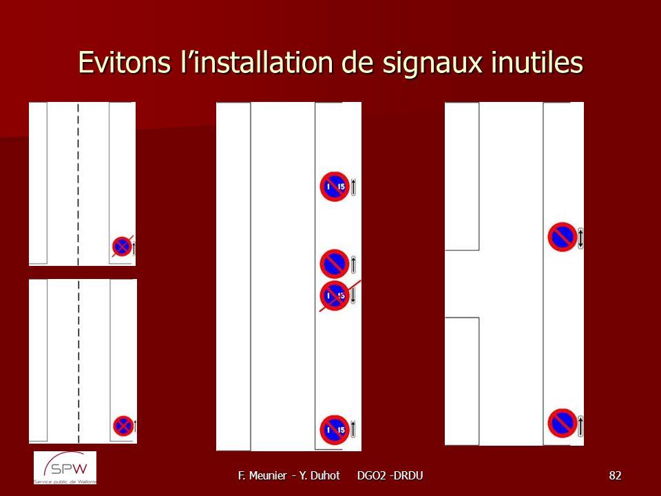 F. Meunier - Y. Duhot DGO2 -DRDU82 Evitons linstallation de signaux inutiles