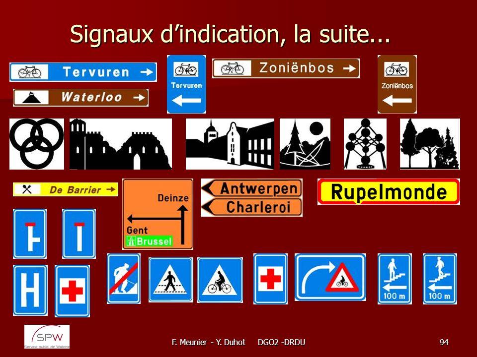 F. Meunier - Y. Duhot DGO2 -DRDU94 Signaux dindication, la suite...