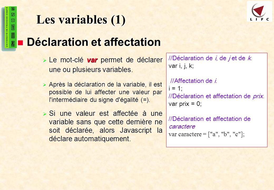 10 Les variables (1) Déclaration et affectation Déclaration et affectation Le mot-clé var permet de déclarer une ou plusieurs variables.