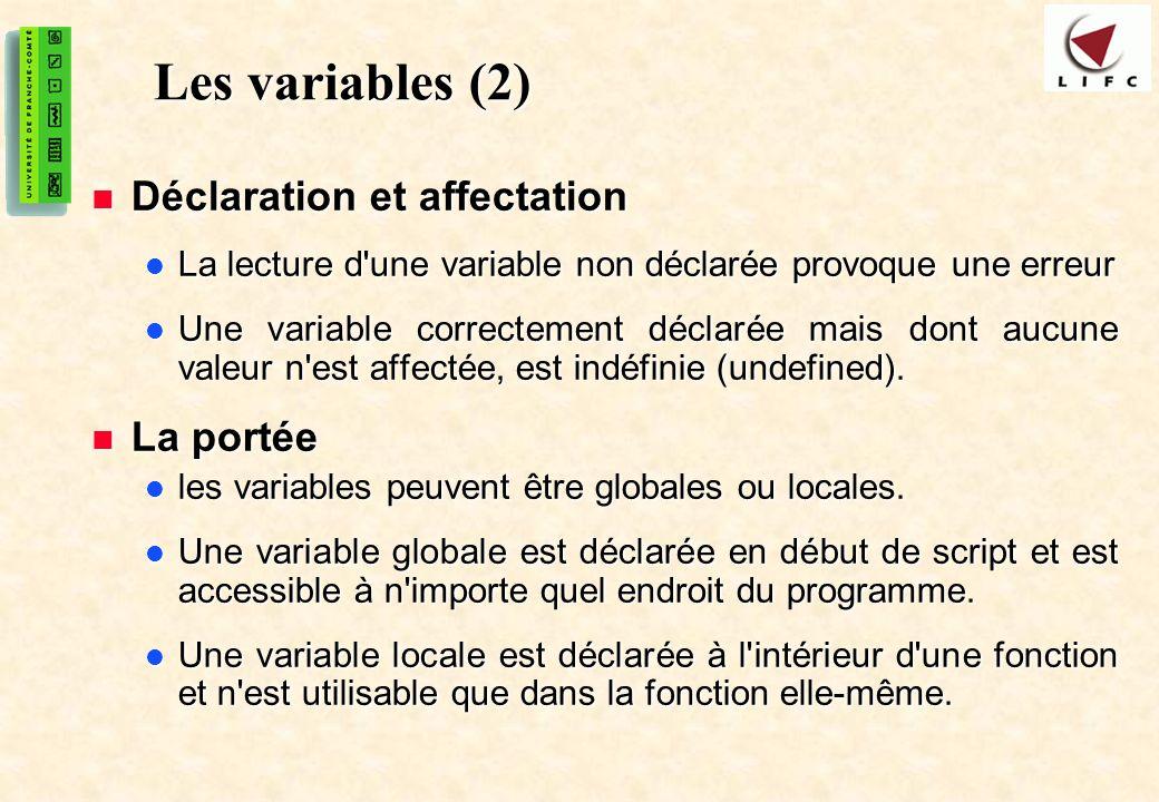 11 Les variables (2) Déclaration et affectation Déclaration et affectation La lecture d une variable non déclarée provoque une erreur La lecture d une variable non déclarée provoque une erreur Une variable correctement déclarée mais dont aucune valeur n est affectée, est indéfinie (undefined).