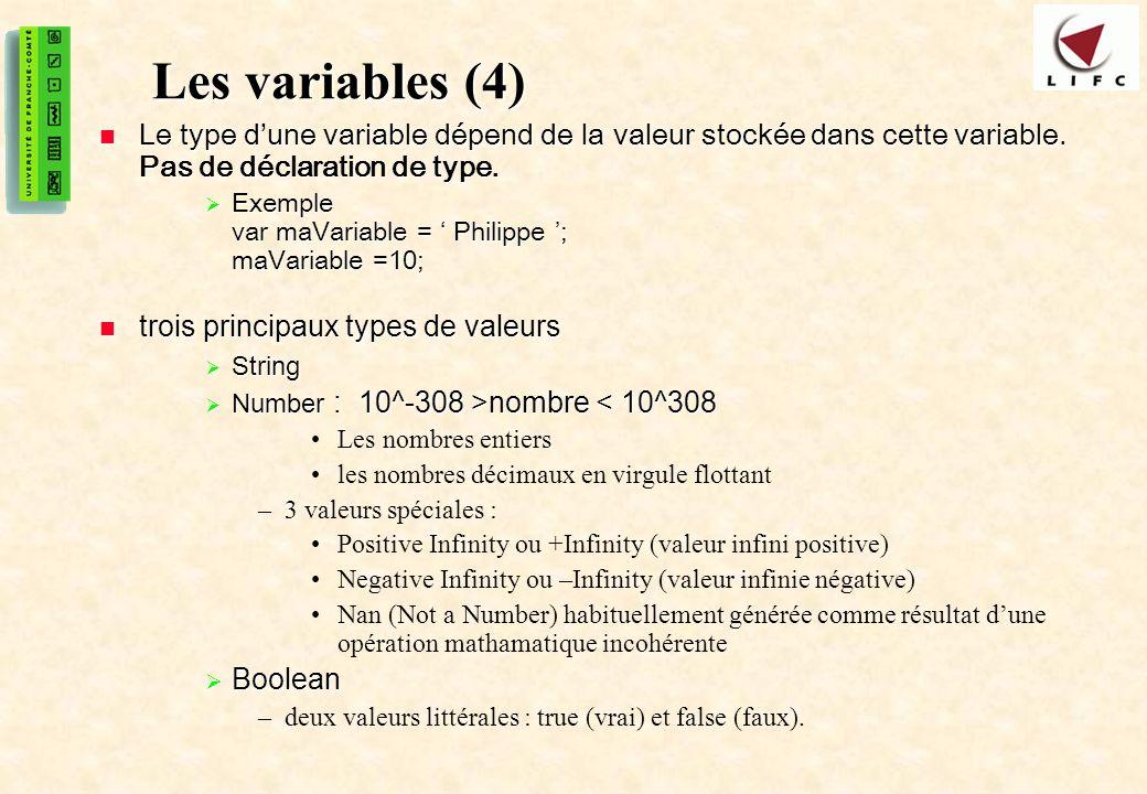 13 Les variables (4) Le type dune variable dépend de la valeur stockée dans cette variable.
