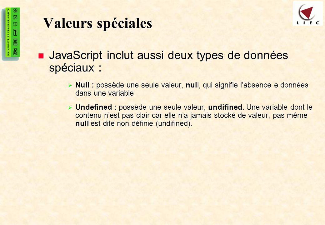 14 Valeurs spéciales JavaScript inclut aussi deux types de données spéciaux : JavaScript inclut aussi deux types de données spéciaux : Null : possède une seule valeur, null, qui signifie labsence e données dans une variable Null : possède une seule valeur, null, qui signifie labsence e données dans une variable Undefined : possède une seule valeur, undifined.