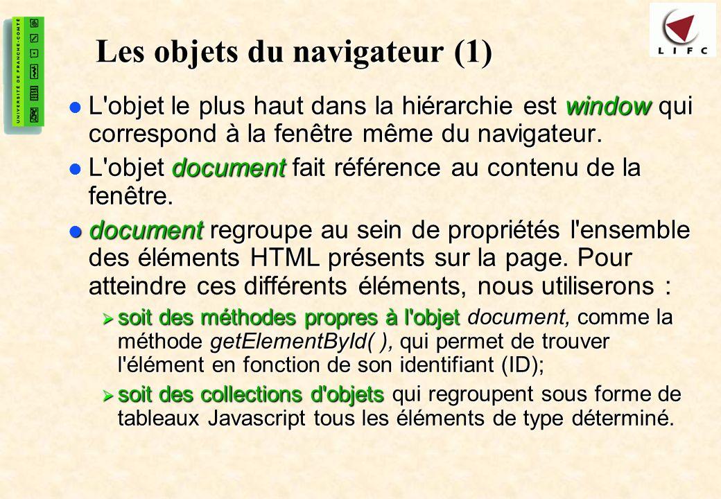 30 Les objets du navigateur (1) L'objet le plus haut dans la hiérarchie est window qui correspond à la fenêtre même du navigateur. L'objet le plus hau