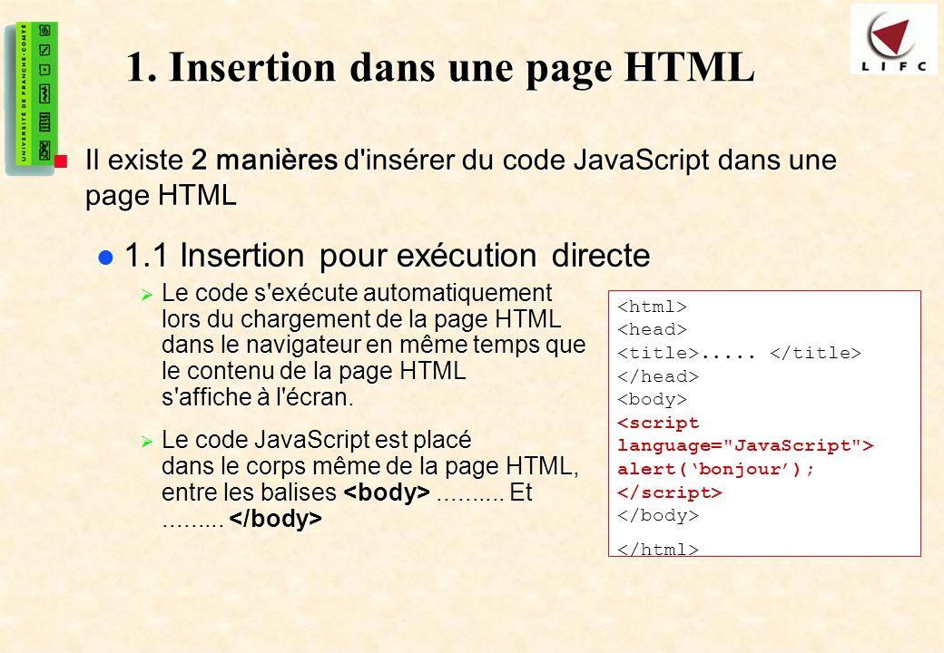 5 1. Insertion dans une page HTML Il existe 2 manières d'insérer du code JavaScript dans une page HTML Il existe 2 manières d'insérer du code JavaScri