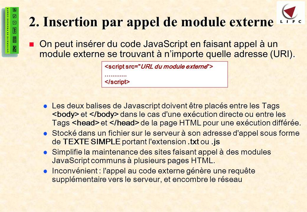 6 2. Insertion par appel de module externe On peut insérer du code JavaScript en faisant appel à un module externe se trouvant à nimporte quelle adres