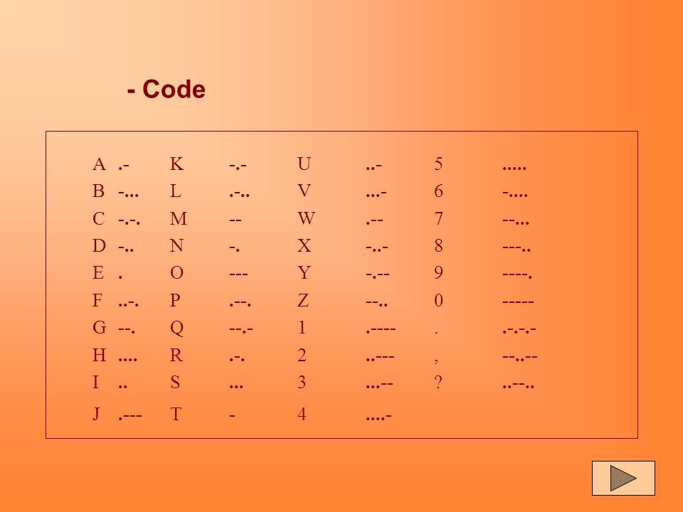 LE CODE MORSE - Elaboré en 1832, il est différent du code Morse actuel. - Composé de combinaisons de signaux longs et brefs (traits & points) - La vit