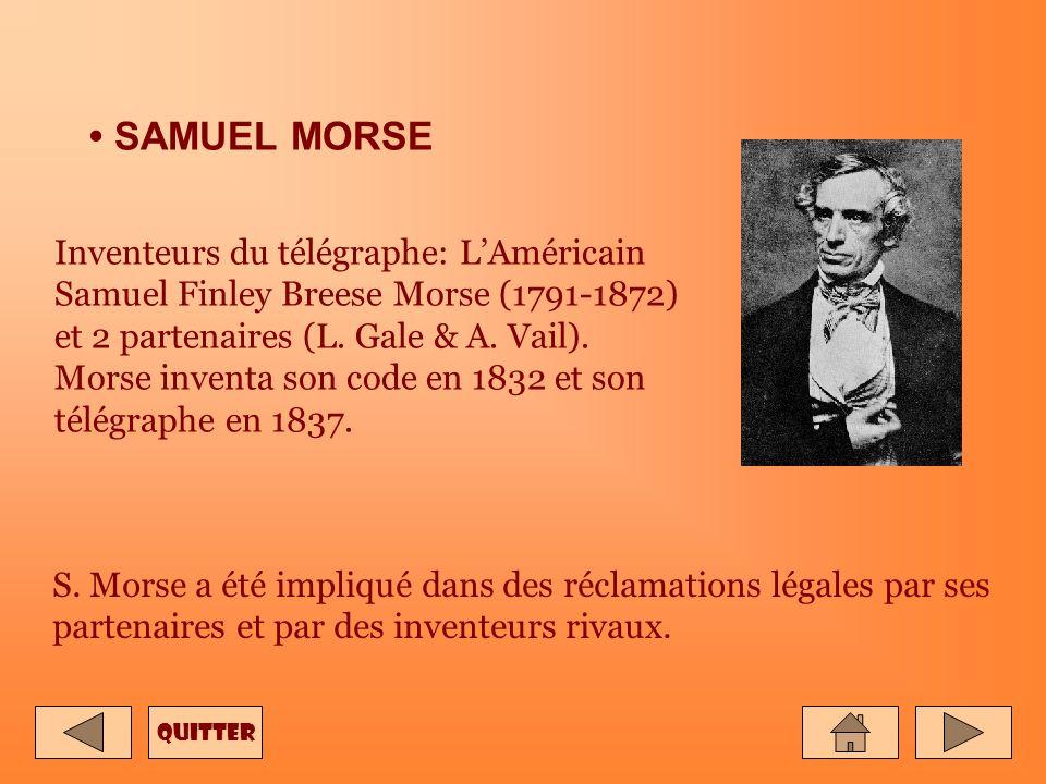 SAMUEL MORSE Inventeurs du télégraphe: LAméricain Samuel Finley Breese Morse (1791-1872) et 2 partenaires (L.