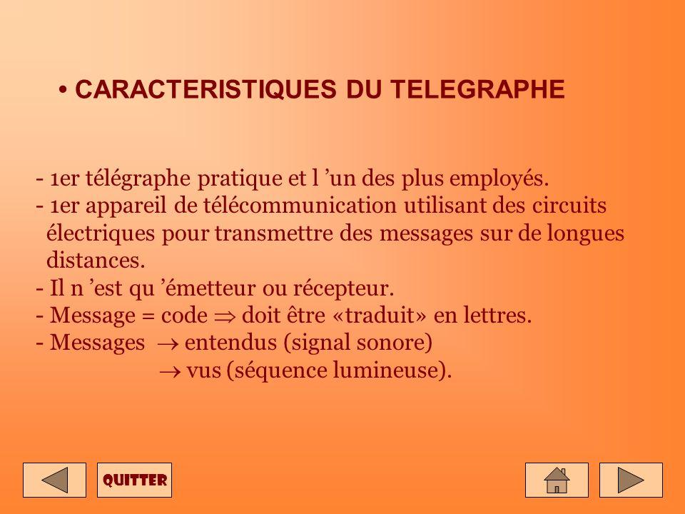 CARACTERISTIQUES DU TELEGRAPHE - 1er télégraphe pratique et l un des plus employés.