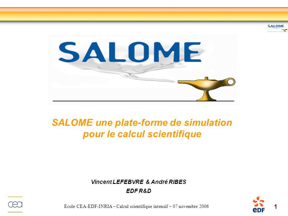 22 Ecole CEA-EDF-INRIA – Calcul scientifique intensif – 07 novembre 2006 Modèle déchange de données MED est utilisé par les modules de pré/post-traitement de la plate- forme SALOME Maillage Visualisation