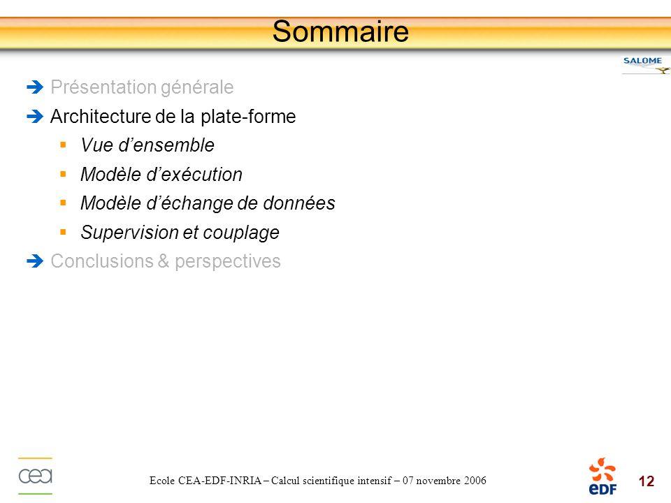 12 Ecole CEA-EDF-INRIA – Calcul scientifique intensif – 07 novembre 2006 Sommaire Présentation générale Architecture de la plate-forme Vue densemble M