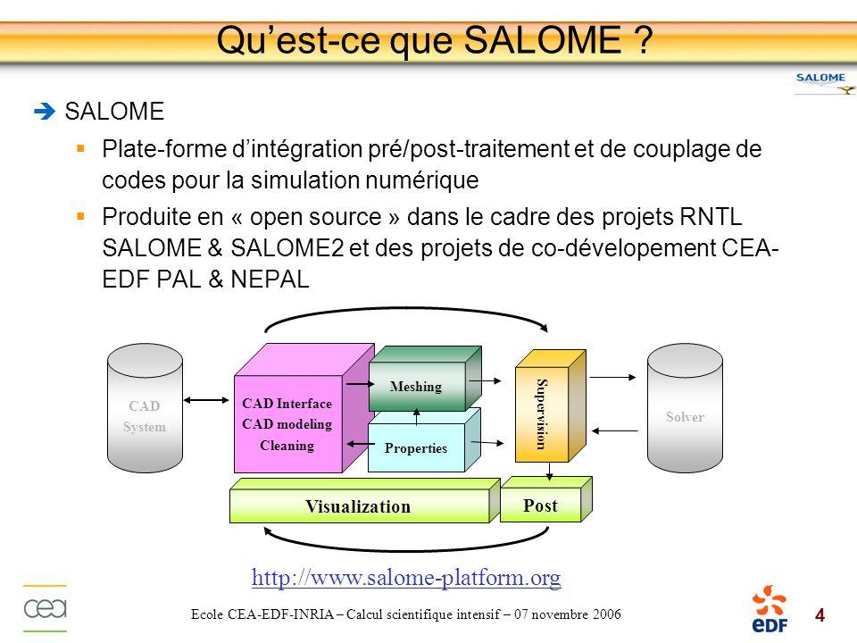 4 Ecole CEA-EDF-INRIA – Calcul scientifique intensif – 07 novembre 2006 Quest-ce que SALOME ? SALOME Plate-forme dintégration pré/post-traitement et d