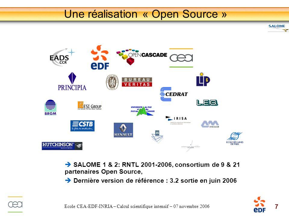 8 Ecole CEA-EDF-INRIA – Calcul scientifique intensif – 07 novembre 2006 Une réalisation « Open Source » Adhésion aux standards open source Linux, Qt, VTK, C++, OmniORB/CORBA, HDF5, Python Distribution sous les termes de la licence GNU LGPL Possibilité de définir des solutions propriétaires ou commerciales Possibilité dintégrer des composants métiers qui ne sont pas open source