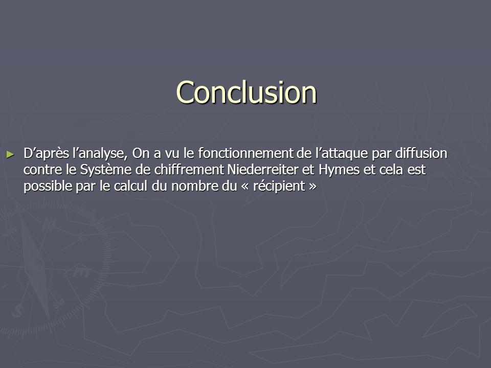 Conclusion Daprès lanalyse, On a vu le fonctionnement de lattaque par diffusion contre le Système de chiffrement Niederreiter et Hymes et cela est pos