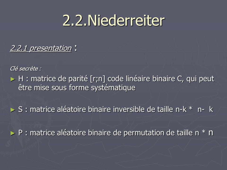 2.2.Niederreiter 2.2.1 presentation : Clé secrète : H : matrice de parité [r;n] code linéaire binaire C, qui peut être mise sous forme systématique H