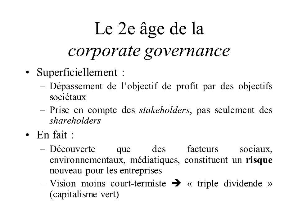 Le 2e âge de la corporate governance Superficiellement : –Dépassement de lobjectif de profit par des objectifs sociétaux –Prise en compte des stakehol