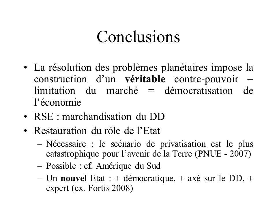 Conclusions La résolution des problèmes planétaires impose la construction dun véritable contre-pouvoir = limitation du marché = démocratisation de lé