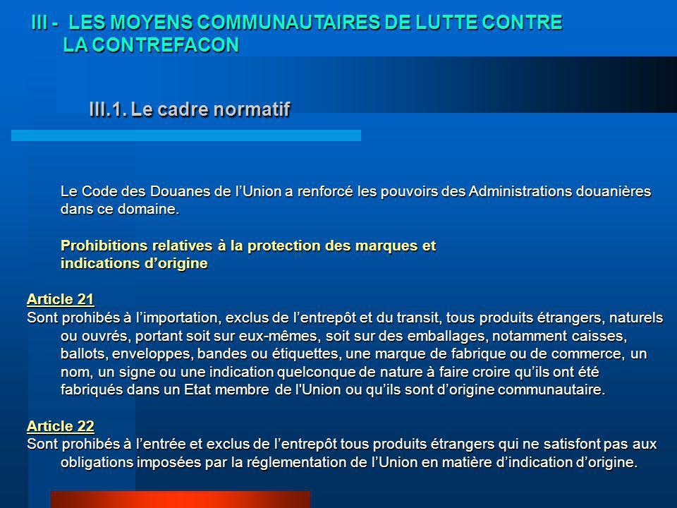 III - LES MOYENS COMMUNAUTAIRES DE LUTTE CONTRE LA CONTREFACON LA CONTREFACON III.1.