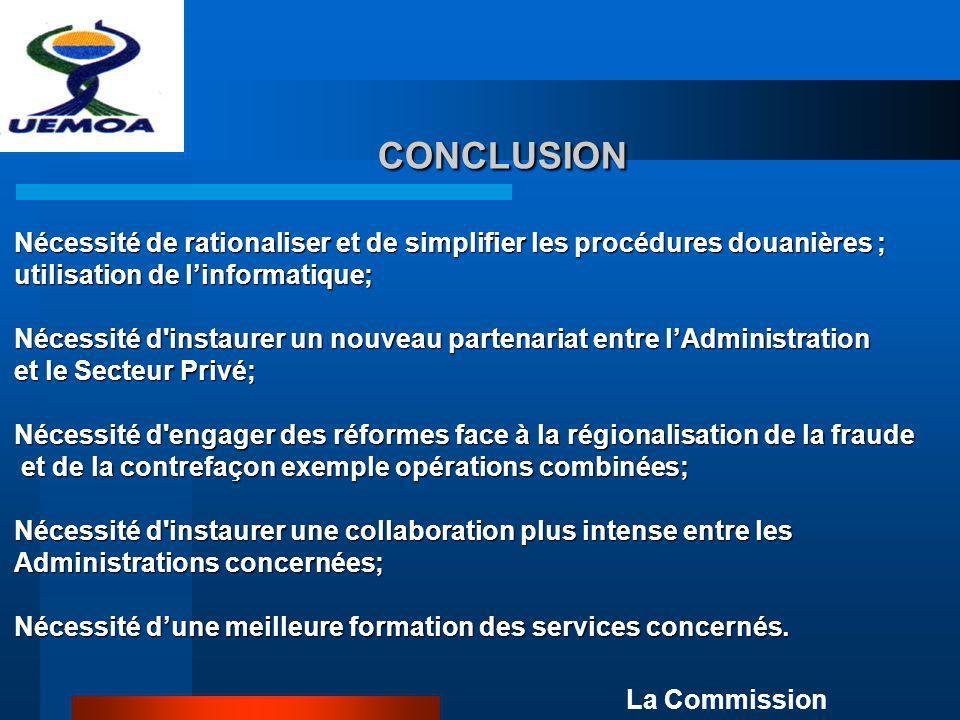 CONCLUSION CONCLUSION La Commission Nécessité de rationaliser et de simplifier les procédures douanières ; utilisation de linformatique; Nécessité d'i