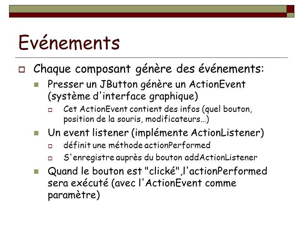 Evénements Chaque composant génère des événements: Presser un JButton génère un ActionEvent (système d interface graphique) Cet ActionEvent contient des infos (quel bouton, position de la souris, modificateurs…) Un event listener (implémente ActionListener) définit une méthode actionPerformed S enregistre auprès du bouton addActionListener Quand le bouton est clické ,l actionPerformed sera exécuté (avec l ActionEvent comme paramètre)