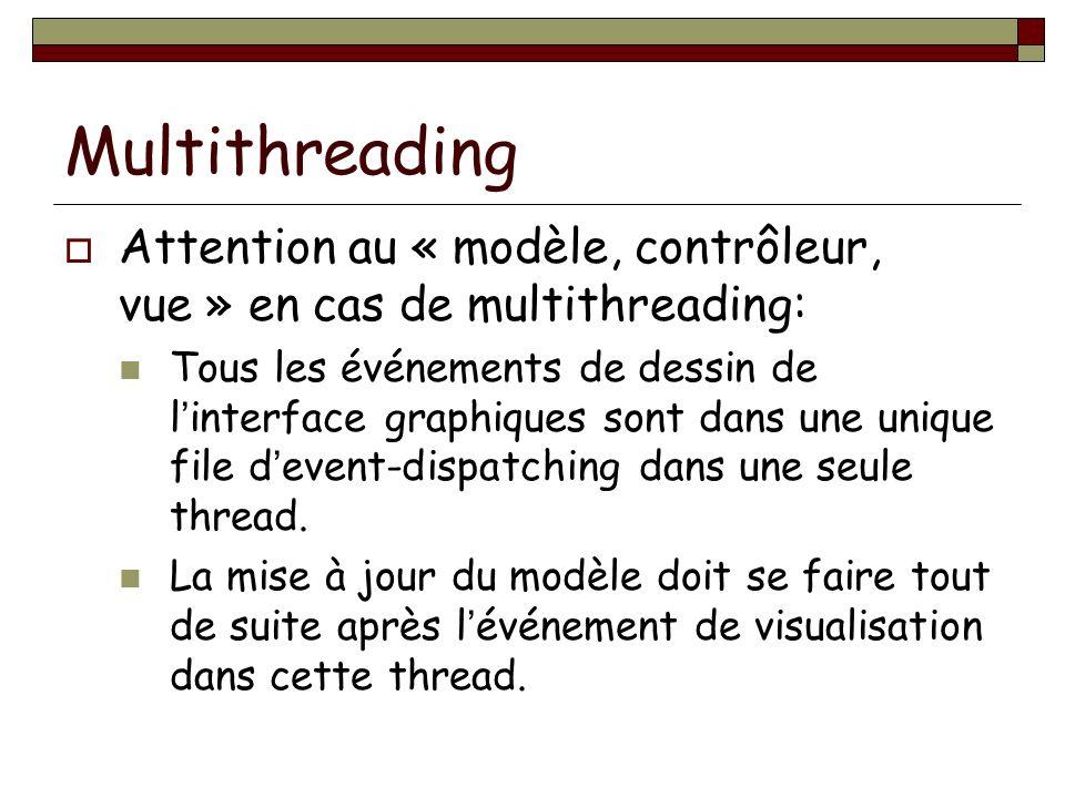 Multithreading Attention au « modèle, contrôleur, vue » en cas de multithreading: Tous les événements de dessin de linterface graphiques sont dans une unique file devent-dispatching dans une seule thread.