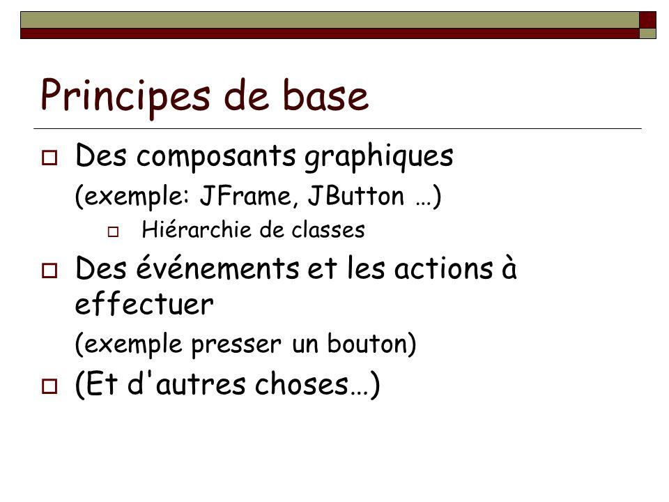 Principes de base Des composants graphiques (exemple: JFrame, JButton …) Hiérarchie de classes Des événements et les actions à effectuer (exemple presser un bouton) (Et d autres choses…)