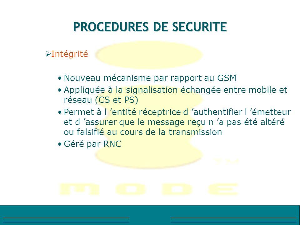 PROCEDURES DE SECURITE Intégrité Nouveau mécanisme par rapport au GSM Appliquée à la signalisation échangée entre mobile et réseau (CS et PS) Permet à