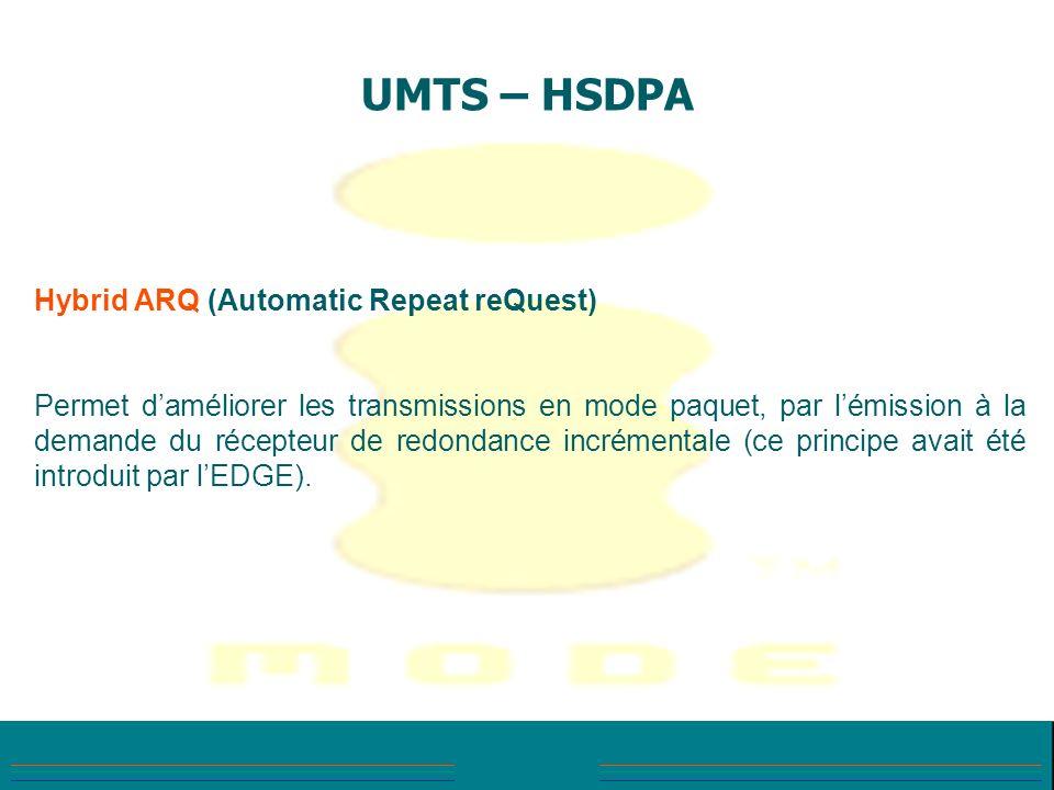 UMTS – HSDPA Hybrid ARQ (Automatic Repeat reQuest) Permet daméliorer les transmissions en mode paquet, par lémission à la demande du récepteur de redo