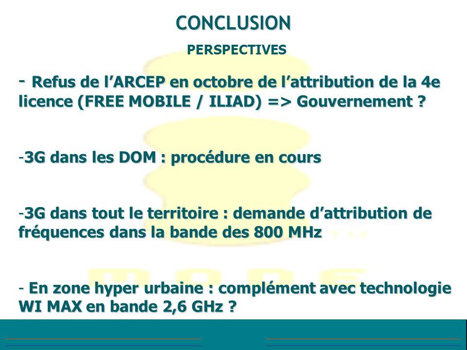 CONCLUSION PERSPECTIVES - Refus de lARCEP en octobre de lattribution de la 4e licence (FREE MOBILE / ILIAD) => Gouvernement ? -3G dans les DOM : procé
