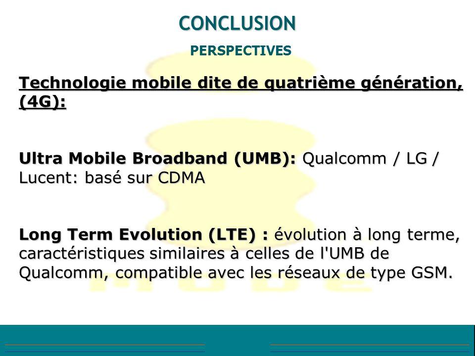 CONCLUSION PERSPECTIVES Technologie mobile dite de quatrième génération, (4G): Ultra Mobile Broadband (UMB): Qualcomm / LG / Lucent: basé sur CDMA Lon