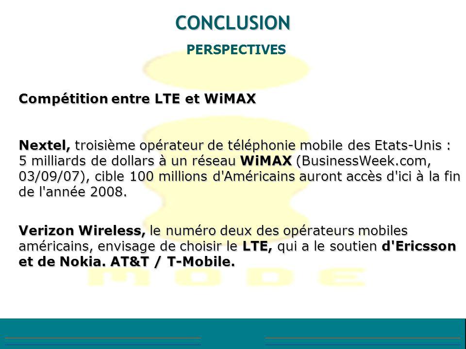 CONCLUSION PERSPECTIVES Compétition entre LTE et WiMAX Nextel, troisième opérateur de téléphonie mobile des Etats-Unis : 5 milliards de dollars à un r