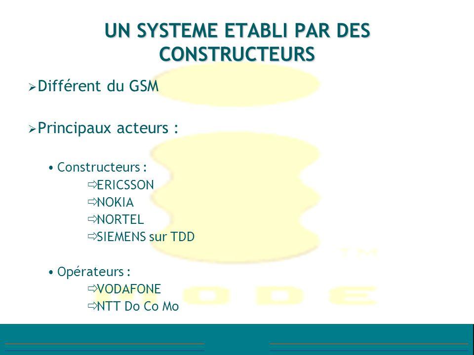 UN SYSTEME ETABLI PAR DES CONSTRUCTEURS Différent du GSM Principaux acteurs : Constructeurs : ERICSSON NOKIA NORTEL SIEMENS sur TDD Opérateurs : VODAF