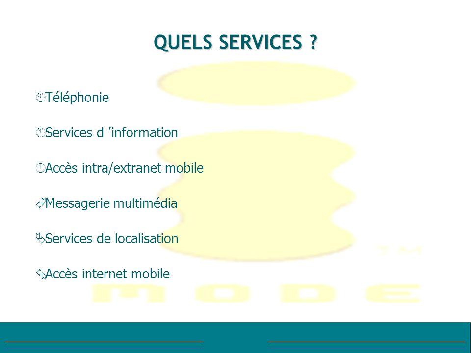QUELS SERVICES ? À À Téléphonie Á Á Services d information Accès intra/extranet mobile à à Messagerie multimédia Ä Ä Services de localisation Å Å