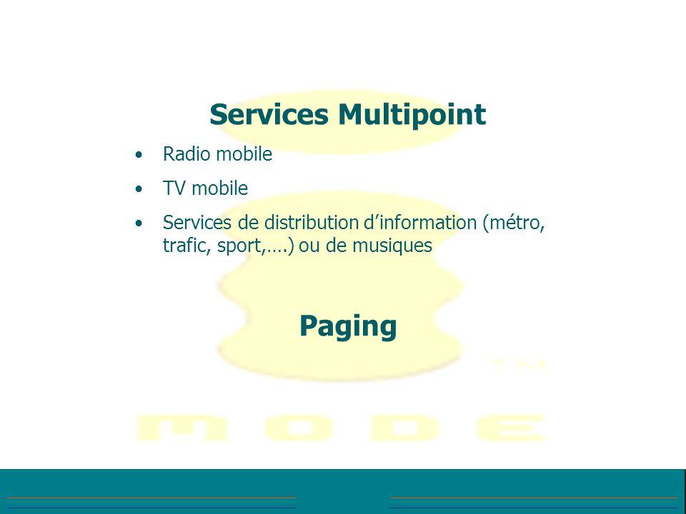 Services Multipoint Radio mobile TV mobile Services de distribution dinformation (métro, trafic, sport,….) ou de musiques Paging