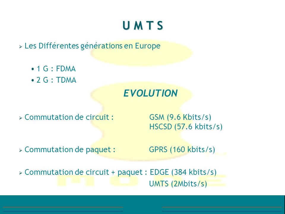 1999Premières spécifications techniques 2000Début des attributions des licences UMTS en Europe (Espagne) Recommandations UMTS release 99 publiées (UMTS phase 1) Réservation de 3 bandes de fréquences complémentaires (160 MHz) - (900, 1800, 2600 MHz) 2001UMTS release 4 2002UMTS Release 5 2004Ouverture commerciale 1er réseau UMTS en France LES DATES « CLE »