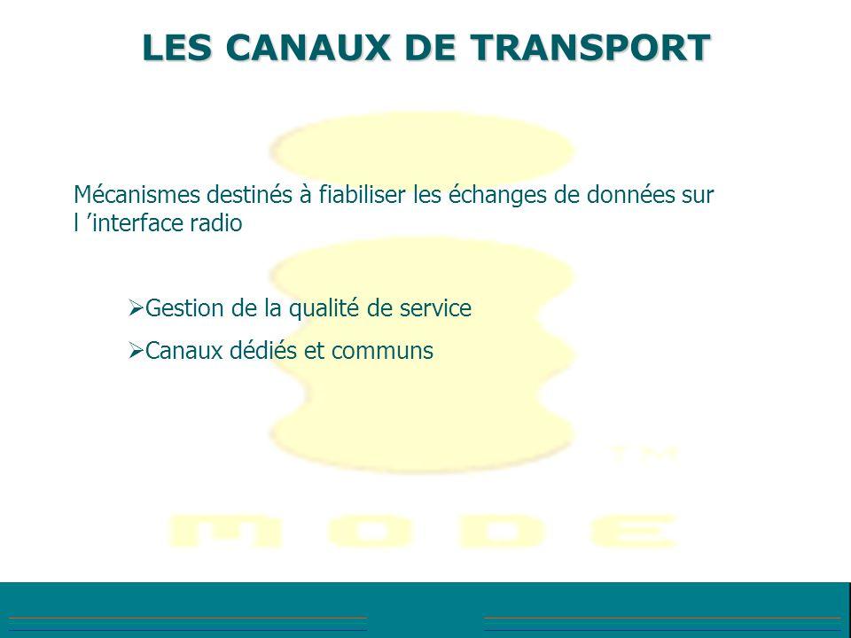 LES CANAUX DE TRANSPORT Mécanismes destinés à fiabiliser les échanges de données sur l interface radio Gestion de la qualité de service Canaux dédiés