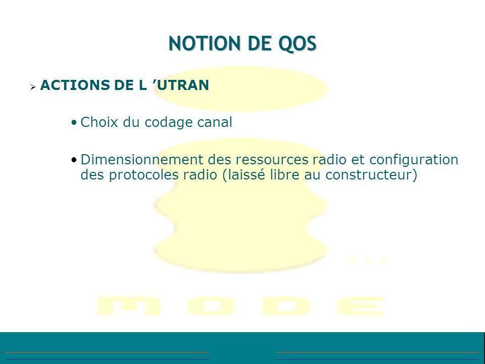 NOTION DE QOS ACTIONS DE L UTRAN Choix du codage canal Dimensionnement des ressources radio et configuration des protocoles radio (laissé libre au con