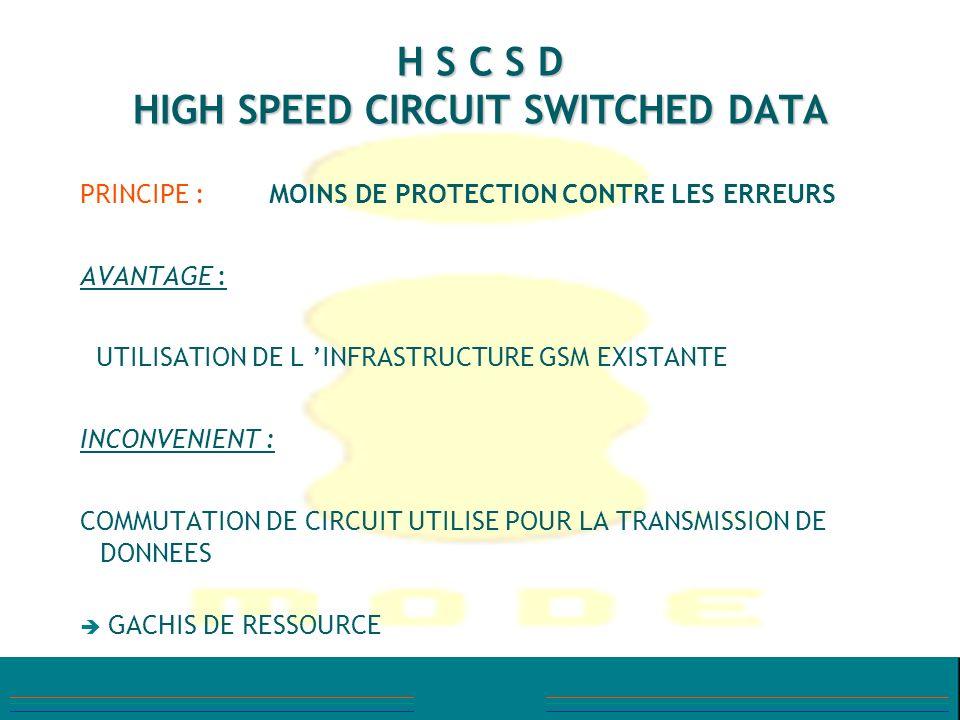 H S C S D HIGH SPEED CIRCUIT SWITCHED DATA PRINCIPE : MOINS DE PROTECTION CONTRE LES ERREURS AVANTAGE : UTILISATION DE L INFRASTRUCTURE GSM EXISTANTE