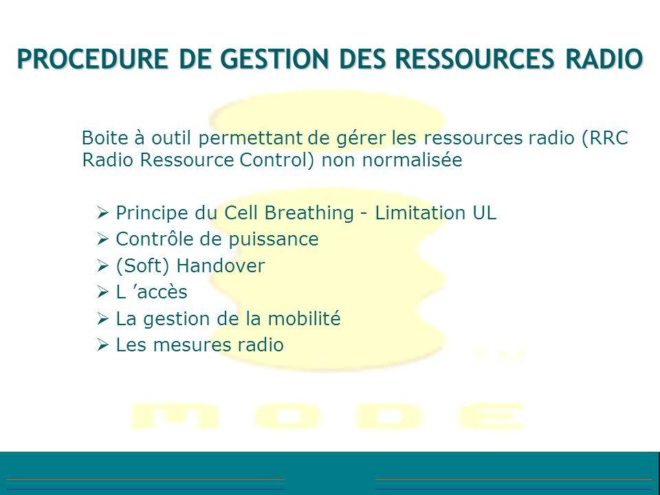 PROCEDURE DE GESTION DES RESSOURCES RADIO Boite à outil permettant de gérer les ressources radio (RRC Radio Ressource Control) non normalisée Principe